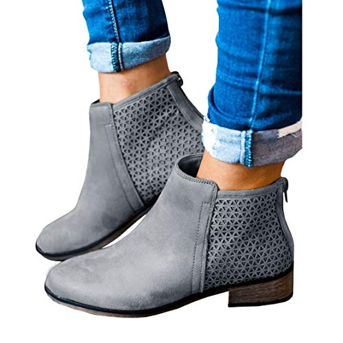 Womens Fall Ankle Boots Low Heel Flat Stacked Booties Back Zipper Hollow Out Western Shoes Light Grey