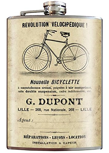 - Bicyclette Bike Steampunk Flask - 8oz Stainless Steel Flask - come in a GIFT BOX - by Trixie & Milo