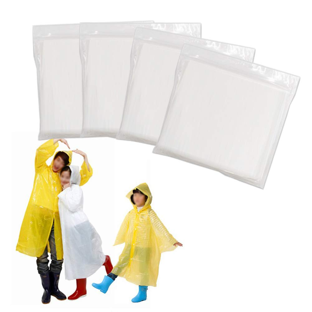 DDOWA Disposable Raincoat (4Pack) Emergency Waterproof Theme Parks, Hiking, Camping, Sports Events Rainy Outdoors