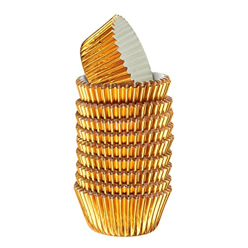 Gold Cupcake Liners 180-Piece - Bulk Decorative Metallic Foil Paper Cupcake and Muffin Baking Cups for Birthday