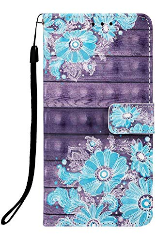 Wiitop Compatible with Samsung Galaxy A80 Case,A90 Case 2019, 3D Leather Wallet Folio Heavy Duty Full Body Protective Phone Cover Credit Card Slot Magnetic Kickstand Smartphone Accessories Blue flower