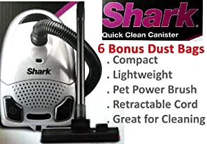 New Shark Plus Euro Pro Super Lightweight Quick Clean Canister Vacuum - 5 Stage Filteration - BONUS 6 Replacement Dust Paper Bag & 1 Pre-Motor Filter
