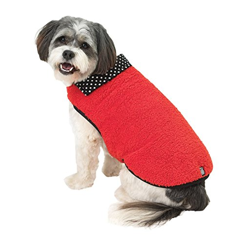 Fido's Fuzzy Fleece Red Dog Vest - X-Small - Fido Fleece Coats