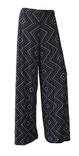 F4U - Pantalones estampados para mujer, pierna ancha, diseño floral, tallas grandes Diamond
