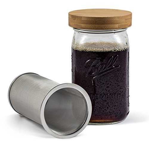 Coffee Maker Jar : Mason Jar Cold Brew Coffee Maker & Iced Tea Maker Quart (32oz) Cold Brew System With Bamboo ...