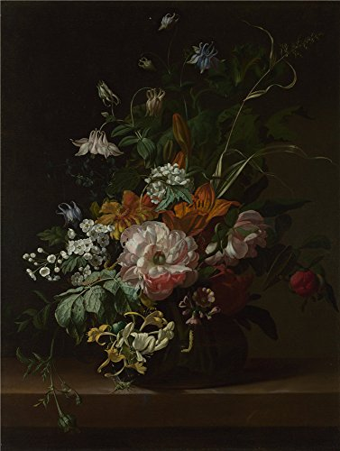 Oil Painting 'Rachel Ruysch Flowers In A Vase', 12 x 16 inch / 30 x 40 cm , on High Definition HD canvas prints is for Gifts And Game Room, Garage And Hallway Decoration, customart