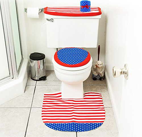 4th of July Bathroom Decor 4 Pcs Set - Patriotic Bathroom and Toilet Set
