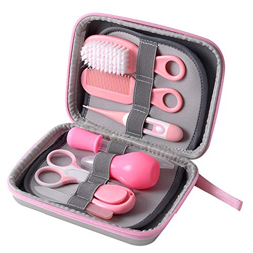 Baby Care Kit,8 in 1 Mini Baby Deluxe Grooming Kit,Nail Clipper Manicure Safety Scissors Nose Cleaner Hair Brush Comb Essential Daily Care Bathing Tool for Toddler Infant Pink from JHion