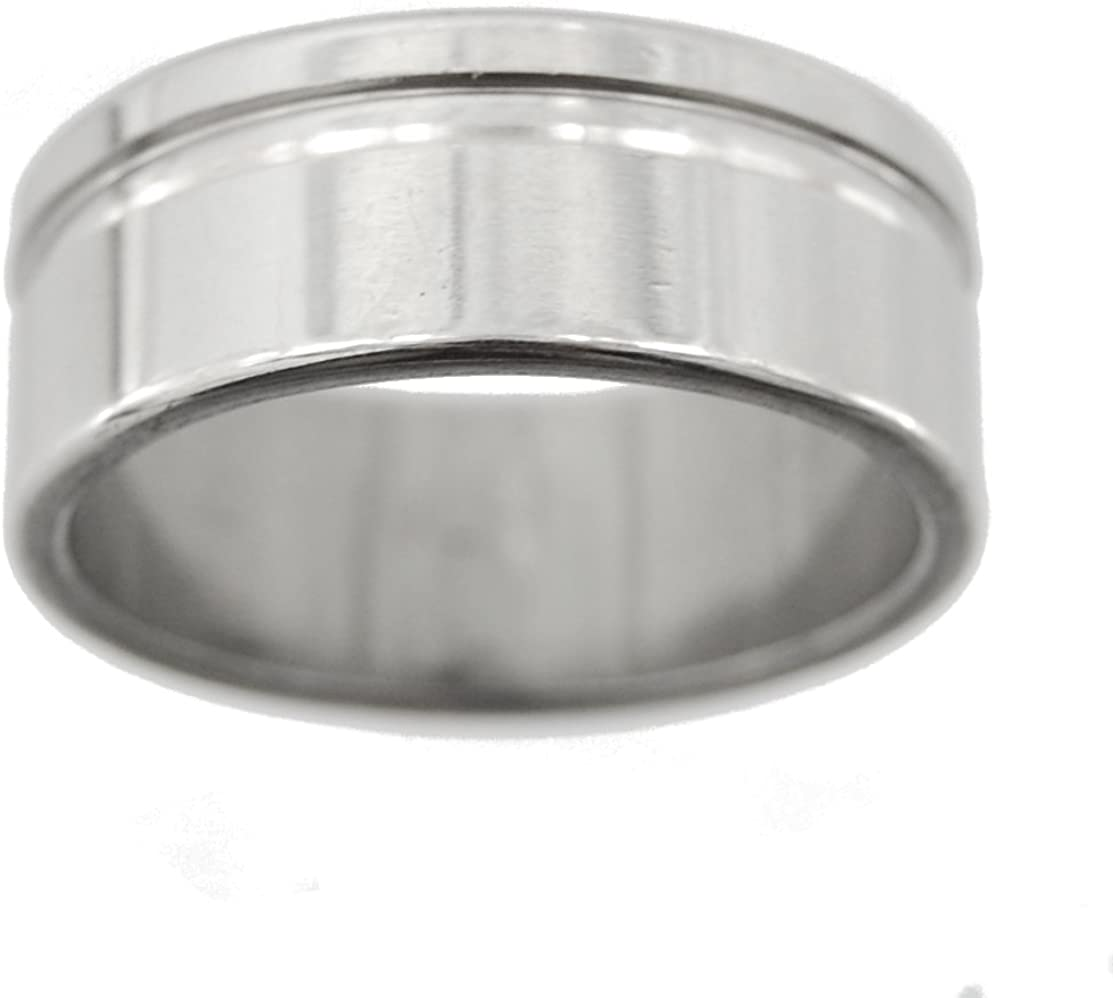 21mm Inside Stainless Steel Ring Single Bevel Bias Mirror Finish Heavy Metal Series Size 11.5