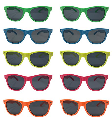 Neon Sunglasses-Neon Frames Green Blue Yellow Pink Orange Colors 5 Colors (10 Pack) Wholesale - Sunglasses Plastic Wholesale