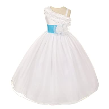 19c87047a Chic Baby Big Girls White Turquoise Shoulder Ruffle Junior ...