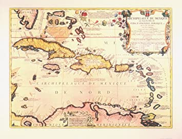 Amazoncom Historical West Indies Map Antique Map Wall Art - Carribean map