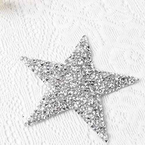 10pcs/lot Sparkling Rhinestone Five-pointed Star Pattern Clothes Patches Fashion Sequined Shoes/hats/bags Appliques Bling Iron-on (Rhinestone Transfer Pattern)