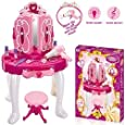 Denny International® Deluxe Girls Pink Musical Dressing Table Vanity Light Mirror Play Set Toy Glamour Make Up Desk With Stool