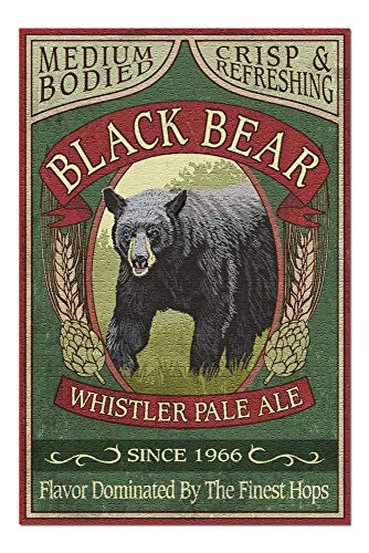 Whistler, Canada - Whistler Pale Ale - Black Bear - Vintage Sign (20x30 Premium 1000 Piece Jigsaw Puzzle, Made in ()