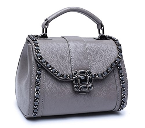 Bolsos de señora Xinmaoyuan lichi Pattern Retro portátil Bolsa Bolso de Hombro, gris Gris