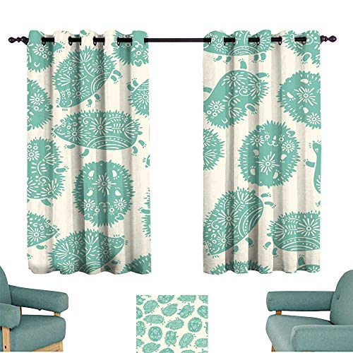 Levolor Decorative Rod - Warm Family Bedroom windproofcurtain Seamless Pattern with Decorative Hedgehogs Cute Kids Background Suitable for Bedroom Living Room Study, etc.