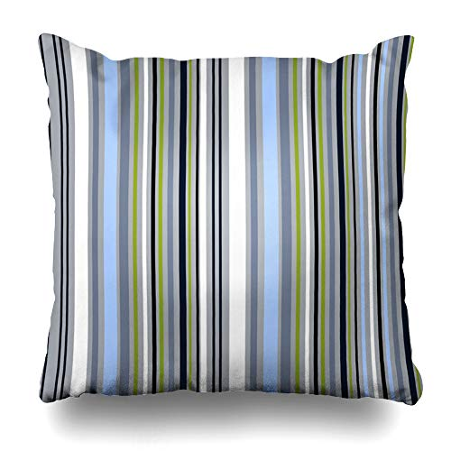 - Ahawoso Throw Pillow Cover Abstract Bright Striped Pattern Stripey Tileable White Effect Blue Grey Green Black Colors Bands Home Decor Cushion Case Square Size 16 x 16 Inches Zippered Pillowcase