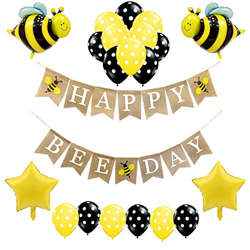 (Bumblebee Party Decorations for Girls and Boys-Happy Beeday Burlap Birthday Banner,Bumble Bee and Star Foil Balloons,Polka Dot Balloons-Honey Comb Bee Themed Birthday Supplies and Favors for Kid's 1st 2nd 3rd 4th Toddlers Bday Decor)