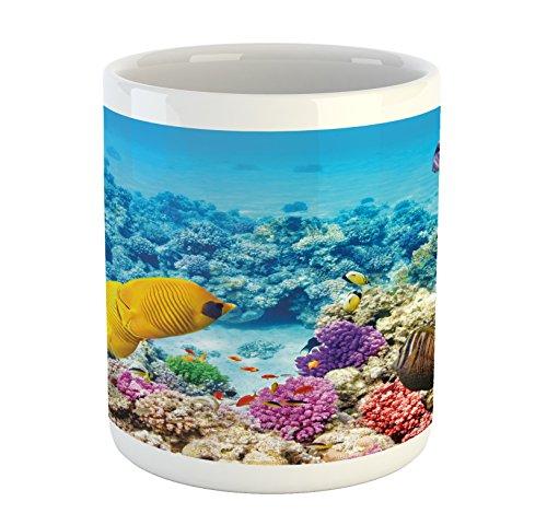 Lunarable Fish Mug, Marine Park Scenery with Sea Creatures Lagoon Jellyfish Scuba Dive Fauna Aqua Theme, Ceramic Coffee Mug Cup for Water Tea Drinks, Multicolor