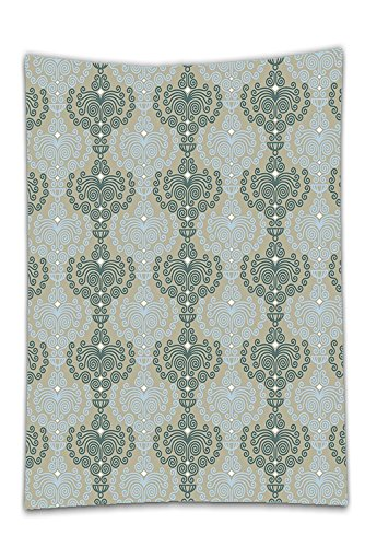 ill Tablecloth?Decorative Abstract Art Damask Decor Floral Ornament Background Wallpaper Pattern Print Blue and Taupe Dining Room Kitchen Rectangular Table Cover Home Decor (Benches Occasional Chair)