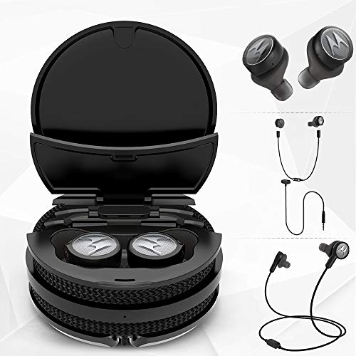 Motorola Tech3 3-in-1 Smart True Wireless Headphones - Cordless Earbuds, Sport Wire, Audio Plug-in - IPX5, Built-in Microphone, Magnetic Charging Case with Cable Storage System - Titanium Black