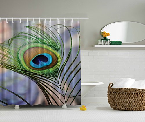 Ambesonne Peacock Shower Curtain by, Extra Long 84 Inch Tree