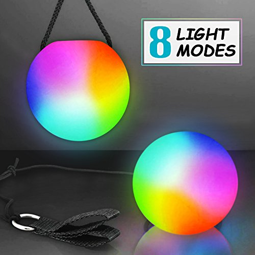 Wanby 1 Pair Poi LED Thrown Balls for Professional Hip-hop,Belly Dance Level Hand Props for Kids Gift (Multi-Colored) by Wanby
