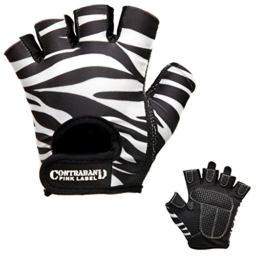 Contraband Pink Label 5277 Womens Design Series Zebra Print Lifting Gloves (Pair) - Lightweight Vegan Medium Padded Microfiber Amara Leather w/Griplock Silicone (White/Black, ()
