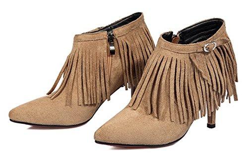 Aisun Womens Fashion Fringed Side Zipper Pointed Toe Dress Booties Stiletto Kitten Heel Ankle Boots Shoes Apricot Vx8ibTJN