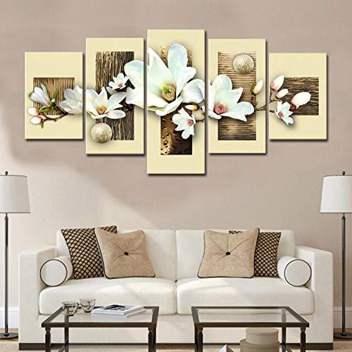 Elegant Magnolia - Aisufen Modular Painting Home Decor Living Room 5 Pieces Flowers Orchids Pictures Prints Elegant Magnolia Canvas Poster Wall Art Framed-10CMx15/20/25CM