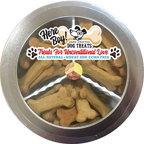 Handcrafted Tin - HereBoy! Dog Birthday Treats | Bacon, Cheddar & Peanut Butter Dog Treats Grain Free | Handcrafted Healthy Dog Snacks in a Dog Gift Tin Made in The USA