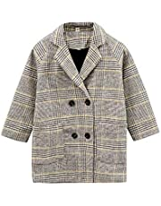 QRX Autumn and Winter Girls Mid-Length Houndstooth Wool Coat, Kid Size:140cm(Beige) (Color : Beige)