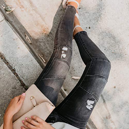 La Haute Jeans Jeans Taille Pantalons Cheville Extensibles Femme Noir pour juqilu wOqCFI
