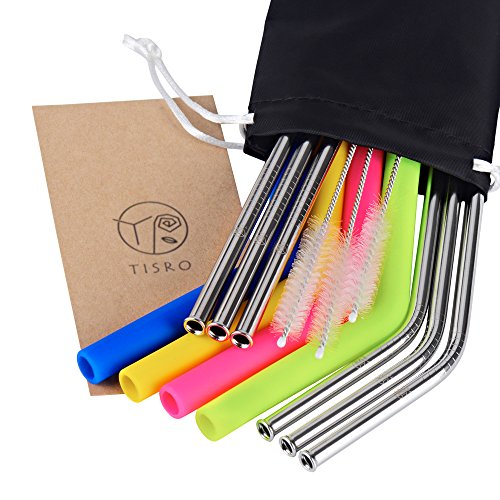 TISRO Mouth Safe Reusable Straws, 6 Metal+4 Silicone(BPA Free) Boba Drinking Straws, 3rd.Generation Anti-Scratch Stainless Steel Straws with Cleaning Brushes and Carry Bag.(Black) -