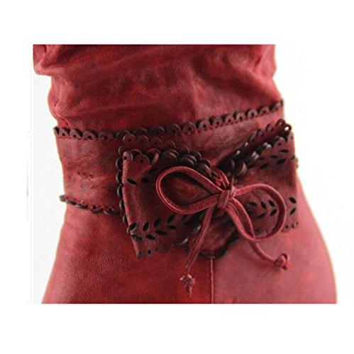 BOTXV Chevalier rétro Conservez Chaussures à Chaussures Hiver Talons et Pointu 37 Artificiel Plus Toe Cachemire Bowknot Side rétro Bottes Courtes RED Les Zipper Bottes Automne pour Hauts Femmes W6WUrnH