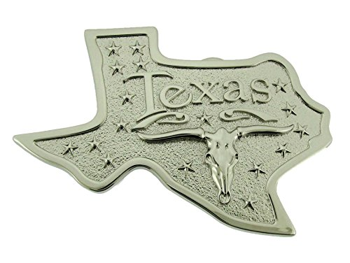 The Big State of Texas Bull Map US Belt Buckle Rodeo Western Unisex Silver Metal from buckleszone