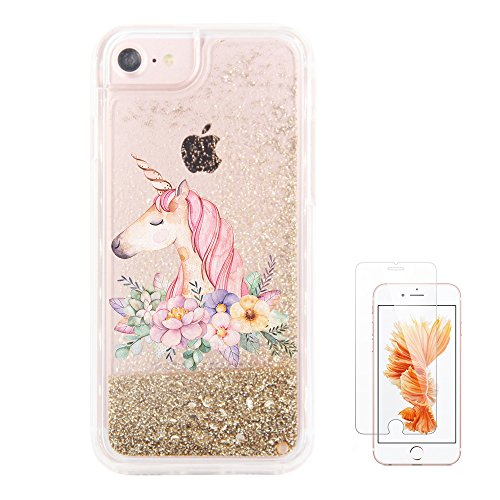 iPhone 6S Case,iPhone 6 Case, iPhone 7 Case uCOLOR Gold Glitter Floral Unicorn Waterfall Clear Protective Case for iPhone 7/6S/6(4.7') with Slim Tempered Glass Screen Protector ¡
