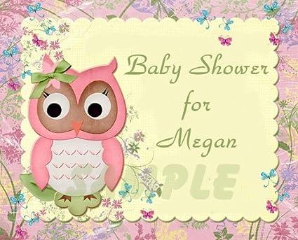 Amazon Pink Owl Baby Shower Edible Image Frosting Sheetcake