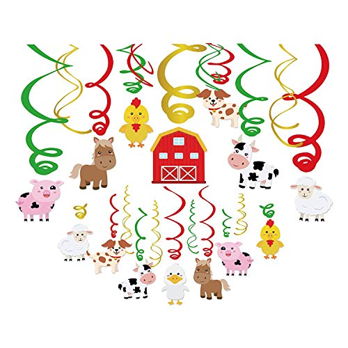Kristin Paradise 30Ct Farm Animal Hanging Swirl Decorations, Barnyard Party Supplies, Barn Yard Birthday Theme, Petting Zoo Farmhouse Kids Decor First 1st Boys Girls Baby Shower, Sheep Cow Bday -