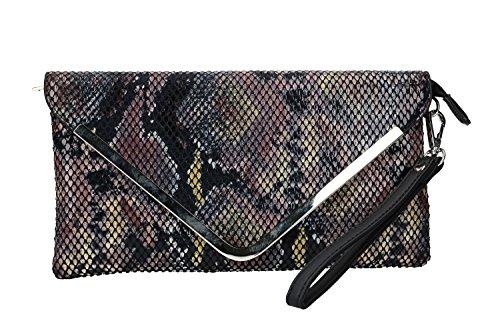 Coveri Collection Sac à main femme pochette d'enveloppe noir cérémonie VN2414