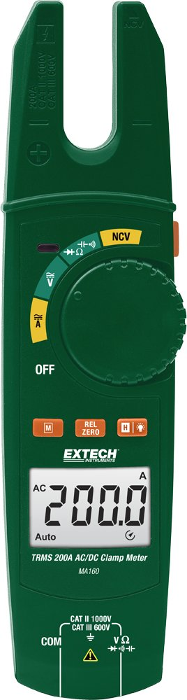 Extech MA160 True RMS 200A AC/DC Open Jaw Clamp Meter