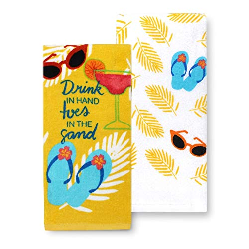 (Tropical Beach Kitchen Towels Set of 2 Summer Flip Flop Theme Cotton Dish Towel 2 Pack Gift Set)