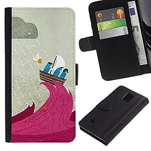 WINCASE Cuadro Funda Voltear Cuero Ranura Tarjetas TPU Carcasas Protectora Cover Case Para Samsung Galaxy Note 4 IV - vela de dibujos animados capitán del barco de lluvia linda