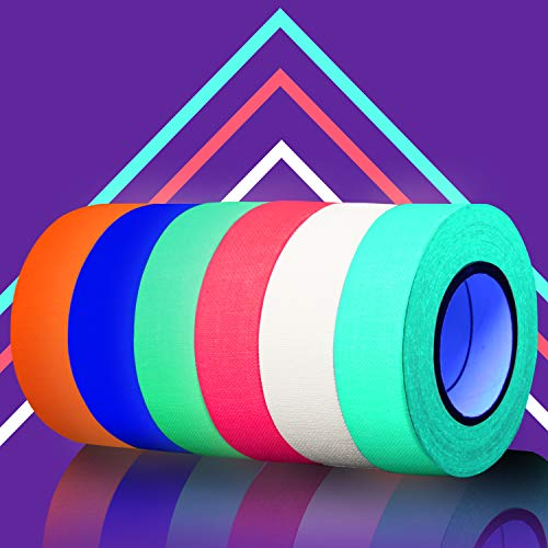 SCIONE Glow in The Dark Tape 6pack Colored Masking Tape (6 Colors) 33ft Glow in The Dark Party Supplies Light up Party Favors UV Blacklight Reactive Kids Craft Set Fluorescent Cloth Tape Assorted