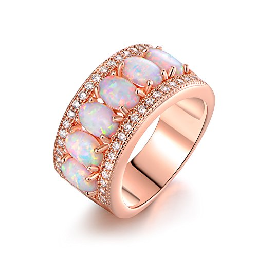 Barzel Oval-Cut Created Fire Opal & Cubic Zirconia Ring (Comes in Rose & White Gold Plated) (Rose Gold, 6)