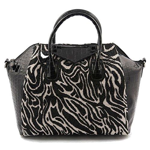 in und H L Made Stoff in Italy 29 x Größe p 15 Weiß Handtasche 34 JodiSchwarz in x cm FZ5qxW7wpY