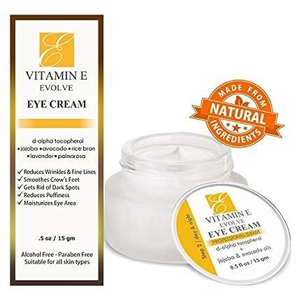 Crema para los ojos con vitamina E natural para el tratamiento de las ojeras. Reduce