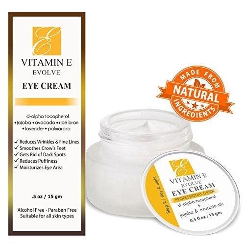 Natürliche Vitamin-E-Augencreme für dunkle Augenringe & Augenkonturpflege. Reduziert Tränensäcke, mindert Fältchen & feine Linien & mildert Krähenfüße. Die beste Anti-Aging-Feuchtigkeitscreme für eine aufhellende Wirkung & Feuchtigkeitszufu