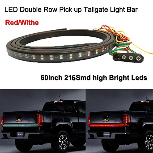 FU-LED LED 60'' Double Row Pick Up Truck Tailgate Light Bar Flexible LED Light Strip 216Leds High Brightenss Red And Withe (60' Led Tailgate Bar)